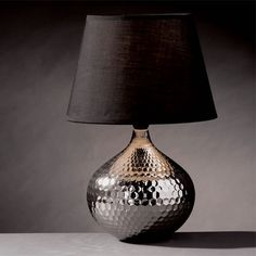 British shopping site? furnitureinfashion.net  Hammered Silver Table Lamp with Black Shade, 2501135