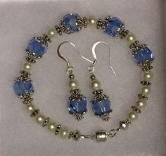 Blue and White Pearl Beaded Bracelet and Earring by Humbleandkind