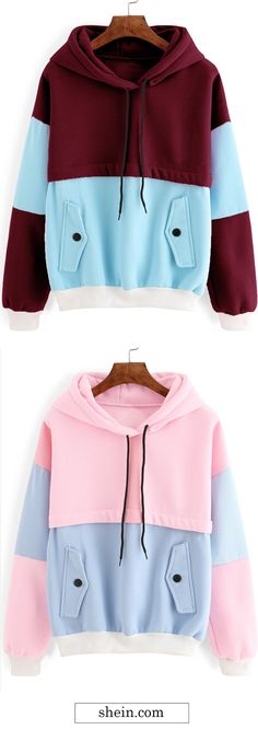 Color block contrast trim hooded sweatshirt collect.