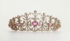 Chaumet's Bow Knot Tiara, circa 1900, in gold, silver, pink topazes, and diamonds.