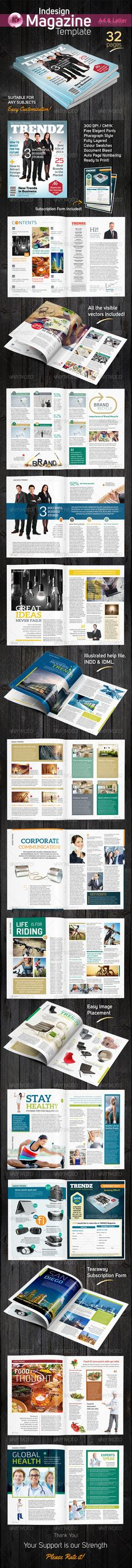 Indesign Magazine Template by laksME Trendy Multipurpose InDesign magazine suitable for any kind of topics. Simple and modern layouts. Corporate colour swatches and pa