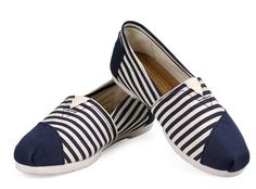 fresh and ready for your feet,TOMS shoes,god...SAVE 68% OFF! this is the best!   See more about blue stripes, canvas shoes and tom shoes.