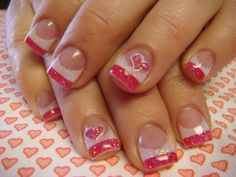 Valentines Day Nails | See more nail designs at http://www.nailsss.com/acrylic-nails-ideas/2/