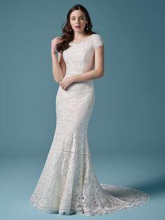 Modest Wedding Gowns, Maggie Sottero Wedding Dresses, Colored Wedding Dresses, Dream Wedding Dresses, Boho Wedding Dress, Designer Wedding Dresses, Bridal Dresses, Lace Wedding, Temple Wedding