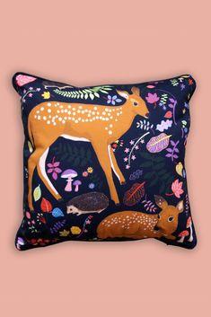 *Pre-Order* Forest Fawns Cushion – Karen Mabon Ltd Cushion Pads, Cushion Covers, Woodland House, Ceramic Vase, Squirrel, Contemporary Design, Cushions, Throw Pillows, Mabon