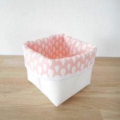 Panier de rangement réversible - corbeille - cache pot - simili blanc et tissu rose imprimé gouttes