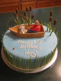 Fishing Birthday Cake I made this cake for a man who loves to go fishing with his dog. It is carrot cake. Fish Cake Birthday, 60th Birthday Cakes, 60 Birthday, Birthday Angel, Funny Birthday, Fondant Cakes, Cupcake Cakes, Chips Ahoy, Aquarium Cake