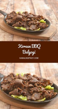 Korean BBQ Bulgogi made of thin beef slices marinated in a sweet and salty marinade and cooked to perfection over charcoal or tabletop griddle. This Asian BBQ beef is tender, flavorful, and delicious with steamed rice! via @lalainespins