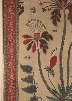 Panel from a Tent Lining (Qanat) - 17th century - India, Deccan - Cotton; plain weave, mordant dyed and painted, resist-dyed