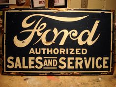 Ford Sign Vintage Hand-Painted Sign por RetroWorksStudio en Etsy