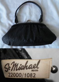 1960's Vintage ST MICHAEL 22000/1082 Small Black Evening Handbag Purse Framed Bag Ladies 10.50