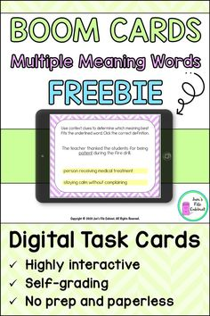 These 25 digital task cards on the BOOM Learning website provide practice with multiple meaning words. Students read sentences and use context clues to determine the meaning of an underlined word. These cards are randomized for multiple plays. Vocabulary Strategies, Vocabulary Activities, Speech Therapy Activities, Language Activities, Reading Binder, Student Reading, Reading Groups, Speech Language Pathology, Speech And Language