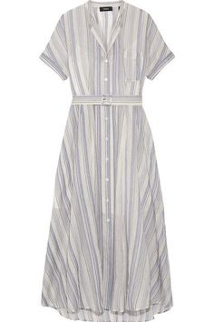 Theory - Avink Striped Crinkled Cotton And Silk-blend Midi Dress - Cream - US2