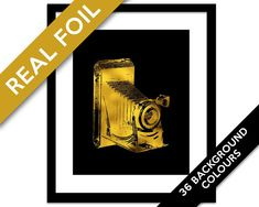 Vintage Camera Art Print - Real Gold Foil Print - Gold Foil Camera Poster - Retro Camera Poster - Camera Illustration - Photographer Gift