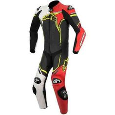 Mono Alpinestars GP Plus Negro Blanco Rojo Amarillo 1 pieza - Pielracing Tienda Online Motorbike Leathers, Motorbike Jackets, Motorcycle Riding Gear, Motorcycle Clothes, Biker Gear, Motorcycle Leather, Motocross, Horse Riding Gloves, Bike Suit