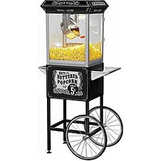 @Overstock - Replicate the feel of an authentic movie theatre when you add this carnival-style popcorn machine and cart to your home decor. The stainless-steel hot oil kettle with built-in stirring system allows you to make mouth-watering popcorn.http://www.overstock.com/Home-Garden/Full-size-Carnival-Style-8-oz-Hot-Oil-Popcorn-Machine-with-Cart/4680222/product.html?CID=214117 $254.99