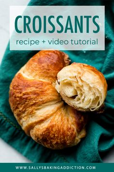 Here's your complete recipe guide for how to make croissants from scratch. These homemade croissants are warm, buttery, and extra flaky! Croissants Recipe Video, Easy Croissant Recipe, Homemade Croissants, Brunch Recipes, Sweet Recipes, Pastry Recipes, Cooking Recipes, Crossant Recipes, Best Homemade Biscuits