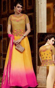 Stylish Sunshine Yellow Anarkali Suit