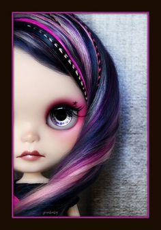 cute hair - pink, black and purple Blythe