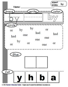 73 sight word practice worksheets... I like that they have to choose the correct letters to glue down. Not just put them in order.