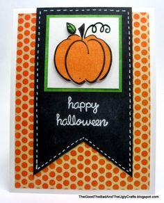 Big Pumpkin Halloween Card with Hero Arts Harvest Pumpkin and Lawn Fawn Happy Everything stamps  http://thegoodthebadandtheuglycrafts.blogspot.com/2013/10/big-pumpkin-halloween-card.html