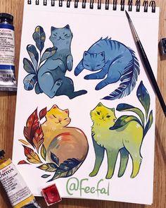 Art Drawings Sketches, Animal Drawings, Cute Drawings, Arte Sketchbook, Illustration, Cartoon Art Styles, Marker Art, Kawaii Art, Cat Art