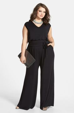 Free shipping and returns on Sejour Wide Leg Jersey V-Neck Jumpsuit (Plus Size) at Nordstrom.com. Ready to go nearly anywhere this season, a sleeveless jumpsuit strikes the perfect balance of comfort and polish in a billowy-leg cut of soft jersey. A sash-wrapped waistband adds flattering definition to the silhouette.