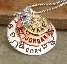 Hand Stamped Mothers Name Necklace -  Mixed Metal Jewelry - Artisian Decorative Mixed Metal Discs with Family Names