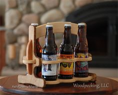 6 Pack Bottle Beer Caddy Wood Persoalized Custom Engravable Wooden Carrier Chery