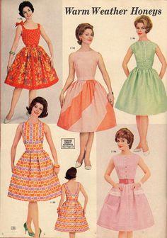 Vintage Fashion: warm weather honies from a 1962 Lana Lobell catalog. Moda Vintage, Vintage Mode, 1950s Style, Style Retro, 70s Mode, Retro Mode, Retro Fashion, Trendy Fashion, Vintage Fashion