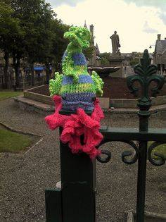Yarnbombing in Thurso, Scotland.  I am very proud to know the identity of the Ninja Knitter behind this yarn bombing :D