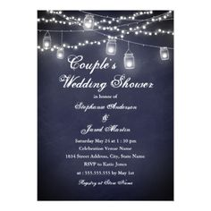 Navy Rustic String Lights Couples Wedding Shower Card - invitations custom unique diy personalize occasions