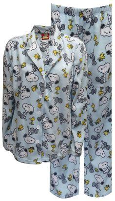 WebUndies.com Peanuts Snoopy and Woodstock Light Blue Plush Pajama