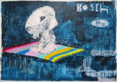 """Saatchi Art Artist Andy Shaw; Painting, """"Hieronymus Bosch the Bedlington Terrier on a Flying Carpet"""" #art"""