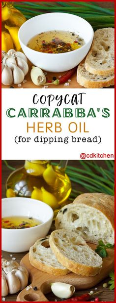 olive oils Copycat Carrabba's Herb Oil for Dipping Bread - The herb blend of basil, parsley, and rosemary are what make this bread dipping sauce recipe a close copycat to Carrabba's version Bread Dipping Oil, Bread Oil, Herb Bread, Garlic Bread, Copycat Recipes, Sauce Recipes, Bread Recipes, Cooking Recipes, Al Dente