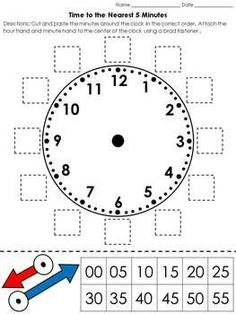 Time: Clock Cut and Paste Activity – Telling Time to the Nearest 5 Minutes - Grundschule Telling Time Activities, Teaching Time, Teaching Math, Math Activities, Teaching Clock, Math Classroom, Kindergarten Math, Preschool, School Worksheets