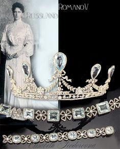 THE ROMANOVS JEWELRY ~ Aquamarine Parure of GD Elizabeth Feodorovna (Ella) known as Hessen Parure. It was Aquamarine parure of Grand Duchess Elizaveth Feodorovna (Ella), the senior sister of Empress Alexandra. The tiara, necklace and bracelet were made by Faberge and Koh, and its main design element was a knot. Ella presented the tiara to her brother Ernst Ludwig and it was inherited by his son Ludwig who presented this to his relative Dorothy of Hesse in 1959. It was Dorothy who sold the…