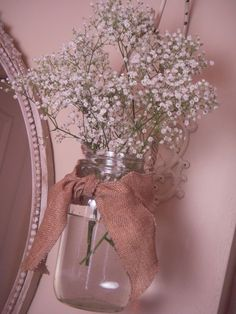 Baby's Breath is back!  Got to do this mason jar sconce idea!  Way cool!