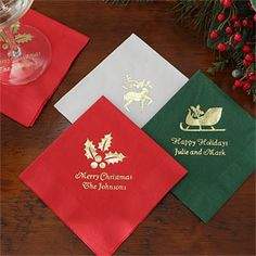Personalized Napkins for Christmas Parties - these are beautiful! They would add such a neat personalized touch to your holiday parties ... it really makes a statement! #Christmas #Napkin