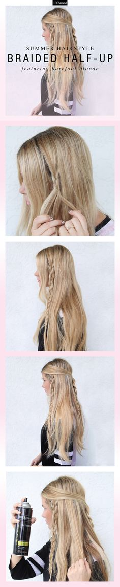 Braid master, Amber Fillerup Clark, of Barefoot Blonde shows us a super-easy look, perfect for those of us who love to wear their hair down, but want to keep it out of our face in the heat.
