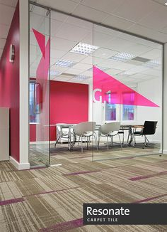 pink decals outside of meeting room – Office İnterior İdeas Corporate Office Design, Corporate Interiors, Workplace Design, Office Interior Design, Office Interiors, Corner Seating, Cafe Seating, Booth Seating, Creative Office Space