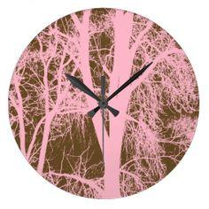 Pink Trees Silhouette Round Clock #zazzle #pinktrees #clock #walldecor http://www.zazzle.com/zazzlewallclocks