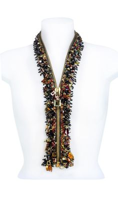 Zipper with SWAROVSKI ELEMENTS - Fire Mountain Gems and Beads. I have done a similar necklace with less impressive beads, it's a fun idea! Jewelry Crafts, Jewelry Art, Beaded Jewelry, Handmade Jewelry, Jewelry Design, Beaded Necklaces, Diy Zipper Jewelry, Jewelry Accessories, Fringe Necklace