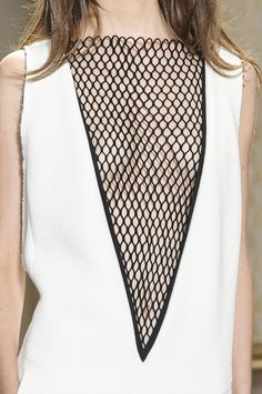 Dress with plunging neckline & contrasting black mesh insert; fashion details // Celine SS13