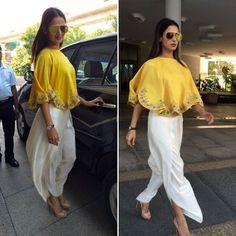 Sonal Chauhan in designer outfit by gorgeous yellow cape and dhoti pants. Indian Wedding Guest Dress, Indian Wedding Outfits, Indian Outfits, Indian Attire, Indian Wear, Indian Style, Fashion Pants, Fashion Dresses, Look Short