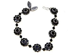 Liz Palacios Swarovski Crystal Flower Bracelet Black #LizPalacios