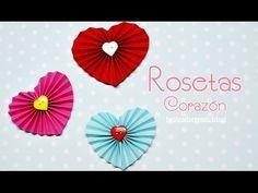 DIY : Rosetas de papel con forma de corazón - Brotes de Creatividad - YouTube Más