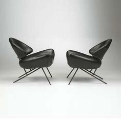 Jean Royere leather lounge chair, 1955 by Disderot