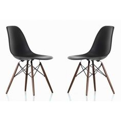 Contemporary Retro Molded Eames Style Black Accent Plastic Dining Shell Chair with Dark Walnut Wood Eiffel Legs (Set of 2) | Overstock.com Shopping - The Best Deals on Dining Chairs