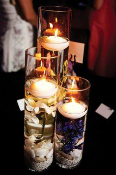 Kerzen gestalten mit Blumen, Wasser und Steinen